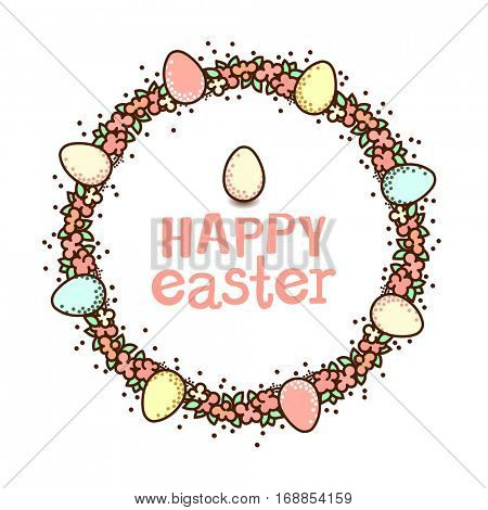 Easter circle frame. Flower wreth decorated with eggs and text Happy Easter