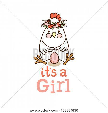 It`s a Girl! card template with cute chicken and pink egg