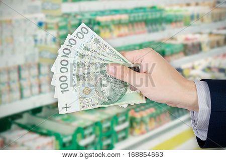 Range of Polish banknotes. Shopping at the supermarket. money polish cash shop range banknote hand market concept