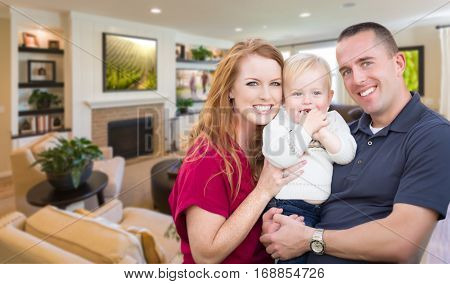 Happy Young Military Family Inside Their Beautiful Living Room.
