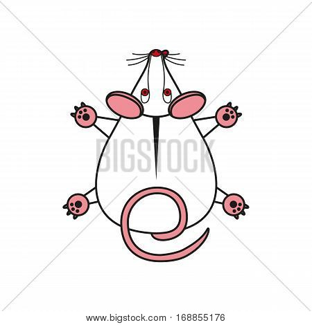Cartoon illustration vector mouse. mousy top view