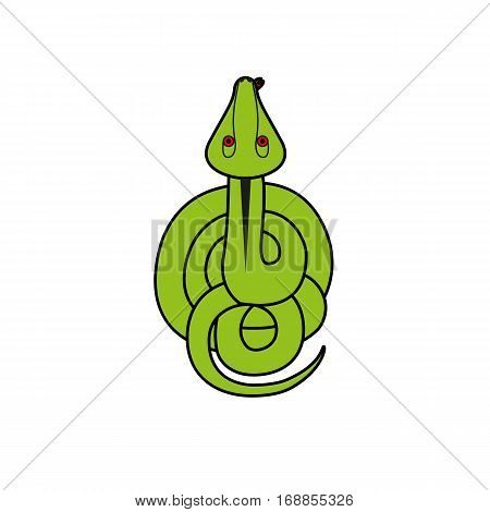 Cartoon illustration vector snake. reptile top view