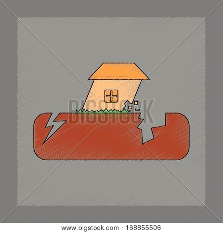 flat shading style icon of natural disaster earthquake