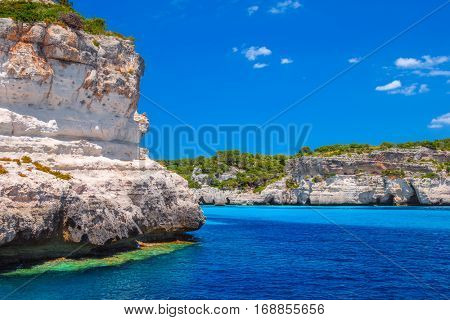 Menorca island cliff coast in the area of Cala Macarelleta, Balearic islands, Spain.