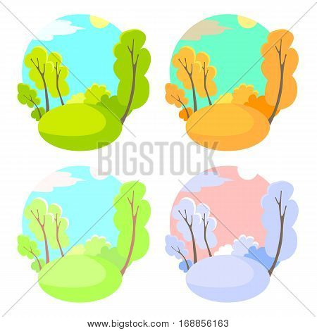 Set of bright flat vector natural backgrounds. Four seasons in nature - summer winter fall spring. City park or vacation woods at 4 times of the year