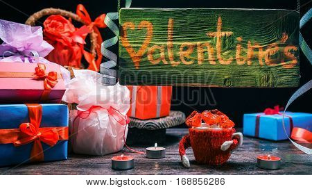 Gift boxes on counter in valentines gift shop. Hanging and lighted wood sign. Concept for animated sign of gift store