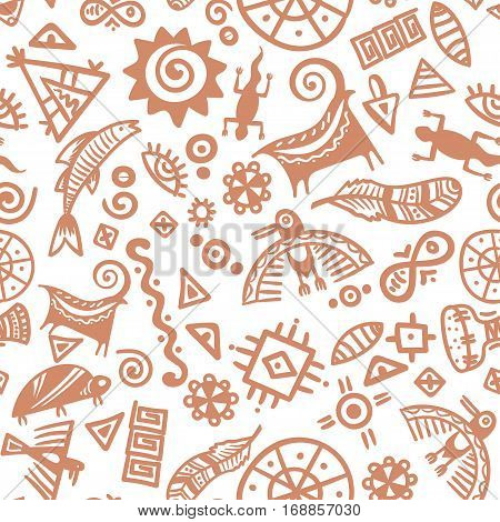 Cave primitive art pattern - vector rock drawings isolated on white background. Ancient tribal prehistoric elements ornament.