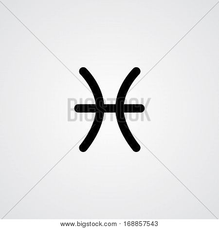 Pisces zodiac symbol black zodiac flat isolated icon on the gray background