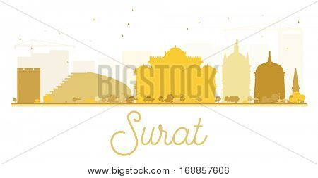Surat City skyline golden silhouette. Vector illustration. Simple flat concept for tourism presentation, banner, placard or web site. Cityscape with landmarks.
