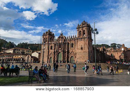 Cusco, Peru - October 6, 2016: The Cathedral at Plaza de Armas Cusco, Peru