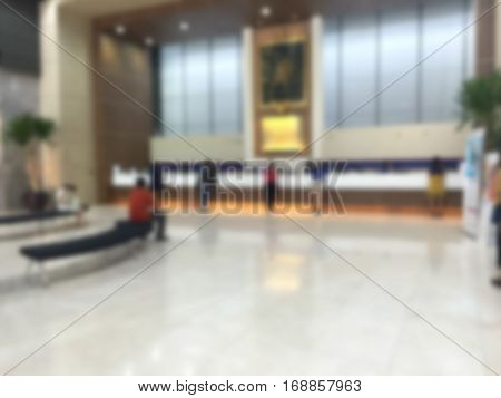 view of counter check in of hotel or counter service at the bank in blur motion and defocus