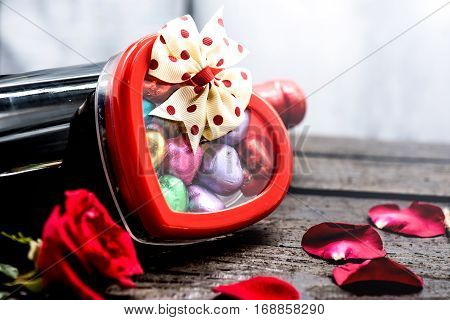 Valentine's day love and sweetest concept, heart box with chocolate.  Holiday background with copy space.