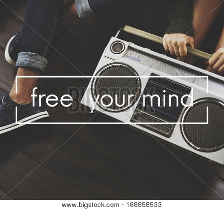 Free Your Mind Vintage Vector Graphic Concept