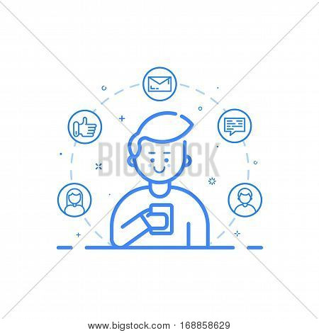 Vector illustration in flat bold linear style. Boy holding mobile phone with smile on his face - receiving comments, notifications and appreciations from his customers and followers - outline stock.