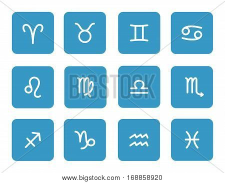 Set of zodiac symbols blue icons on the white background