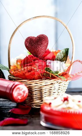 Valentines day and sweetest concept, love heart with red wine