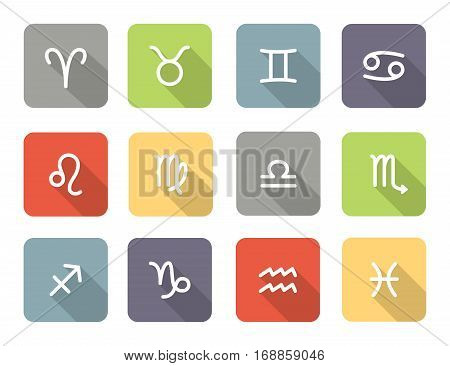 Set of zodiac symbols colored icons with shadow on the white background