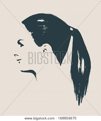 Face profile view. Elegant silhouette of a female head. Vector Illustration. Short hair. Monochrome gamma. Beautiful smiling woman