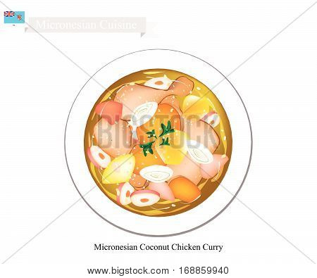 Micronesian Cuisine Illustration of Traditional Coconut Chicken Curry Made of Chicken Potatoes Curry Coconut Milk Ginger and Garlic. One of The Most Popular Dish in Micronesia.