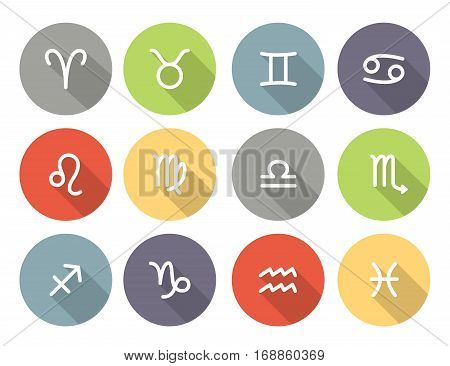 Set of zodiac symbols round colored icons with shadow on the white background