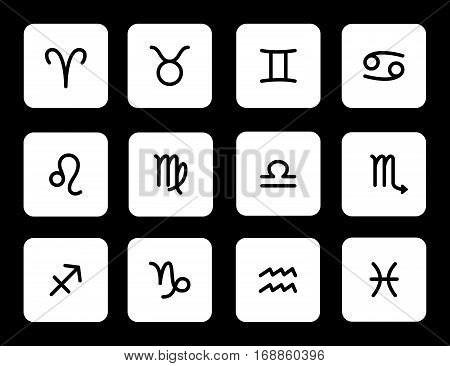Set of zodiac symbols white icons with shadow on the black background
