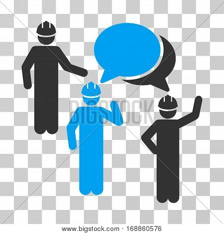 Engineer Persons Forum icon. Vector illustration style is flat iconic bicolor symbol blue and gray colors transparent background. Designed for web and software interfaces.