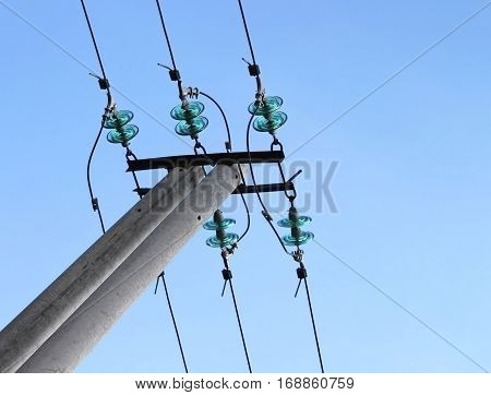 Blue electrical insulator (dielectric). High-voltage (power) line