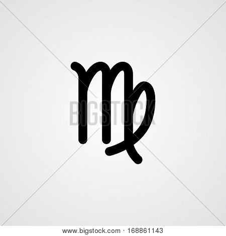 Virgo zodiac symbol black zodiac flat isolated icon on the gray background