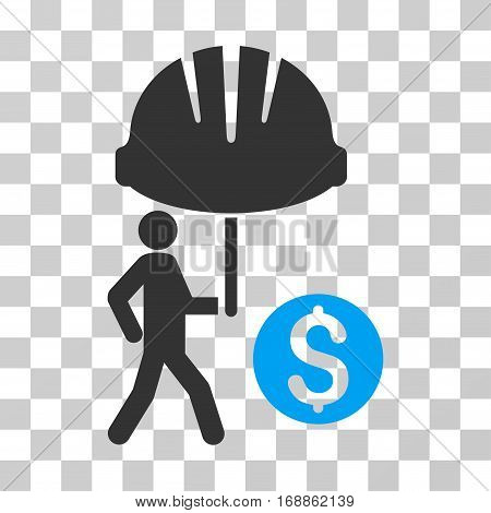 Industrial Financial Coverage icon. Vector illustration style is flat iconic bicolor symbol blue and gray colors transparent background. Designed for web and software interfaces.
