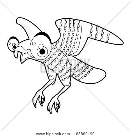 Cute funny cartoon style coloring bird illustration. Falcon