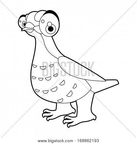 Cute funny cartoon style coloring bird illustration. Grouse Hen