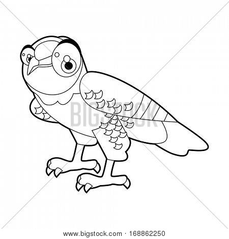 Cute funny cartoon style coloring bird illustration. Owl Eagle Harpy