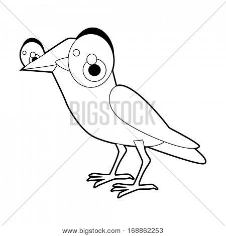 Cute funny cartoon style coloring bird illustration. Crow