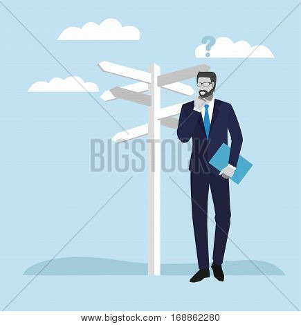 Business people concepts. Businessman standing at a crossroad and looking directional signs arrows.  vector illustration.