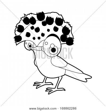 Cute funny cartoon style coloring bird illustration. Flycatcher