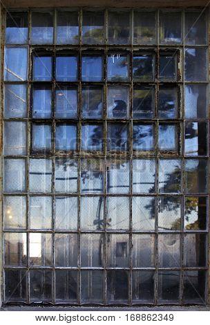 Window with bars in Alcatraz prison. California San Francisco