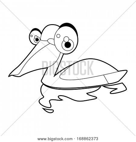 Cute funny cartoon style coloring bird illustration. Pelican