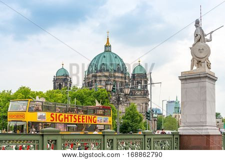 BERLIN, GERMANY- May 18, 2016: Traditional old Berlin Cathedral. Beautiful street view of Berliner Dom in Berlin on May 18, 2016. BERLIN, Germany.