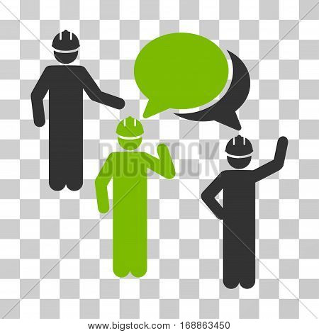 Engineer Persons Forum icon. Vector illustration style is flat iconic bicolor symbol eco green and gray colors transparent background. Designed for web and software interfaces.