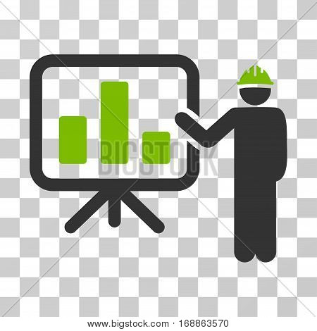 Engineer Pointing Chart Board icon. Vector illustration style is flat iconic bicolor symbol eco green and gray colors transparent background. Designed for web and software interfaces.