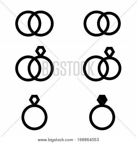 Set Of Engagement Rings Icons In White Background