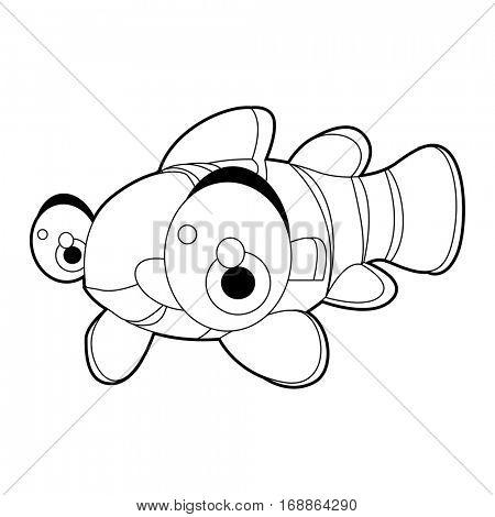 coloring cute sea life animals illustrations. Clown Fish.