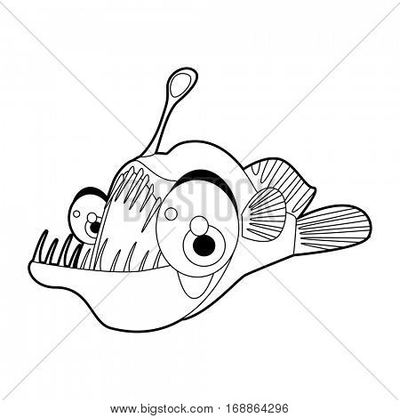 coloring cute sea life animals illustrations. Angler Fish.