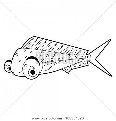 coloring cute sea life animals illustrations. Coryphaena Fish.