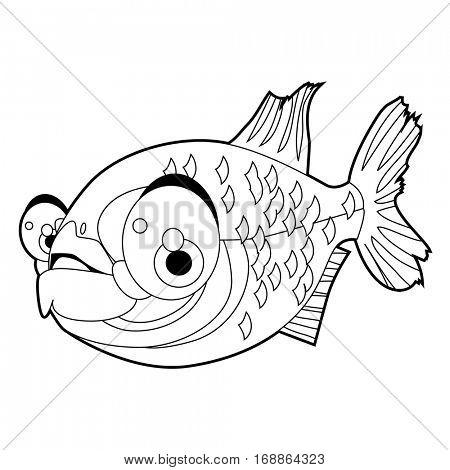 coloring cute sea life animals illustrations. Pirahna Fish.