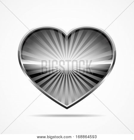Gray metallic heart for Valentine's day. Abstract heart with sun rays on white background. Vector illustration.