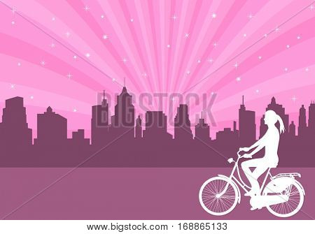 girl riding bicycle  on the abstract city background - vector