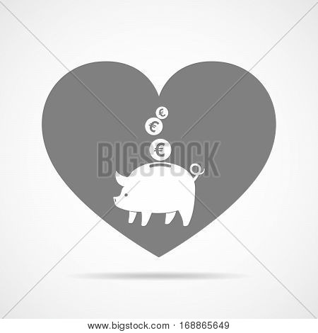 Piggy bank and coins against the background of a heart. Gray piggy bank with falling coins in flat design. Vector illustration.