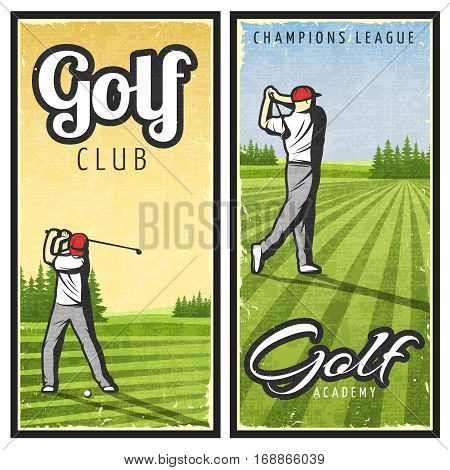 Colorful vintage golf vertical banners with player and club on green lawn vector illustration