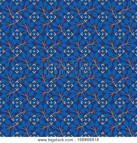 Vector floral elements and octagons. Seamless pattern